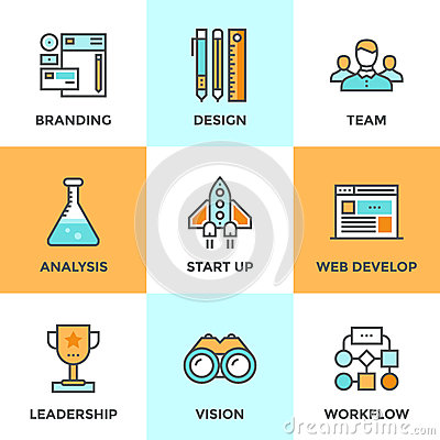 New product development line icons set stock vector for Product design agency