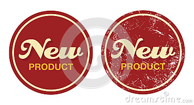 New product red retro badge - grunge style