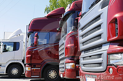 New red truck convoy