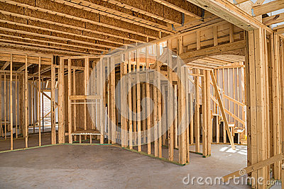 New residential construction framing Stock Photo