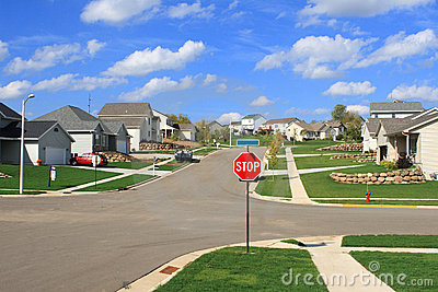 New Residential Homes In A Suburban Subdivision Stock