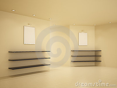 New room, clean interior, 3d illustration
