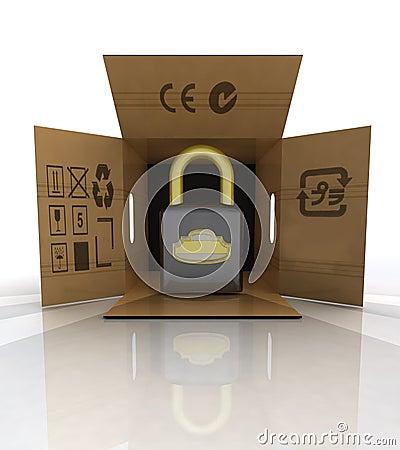 New security padlock advertise in carton box