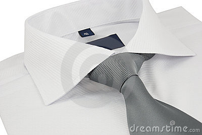 New shirt with a grey striped necktie on a white