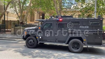 New South Wales Australian Police rescue vehicle on the street. stock footage