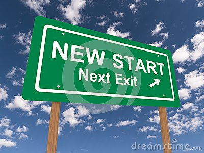 New start next exit sign