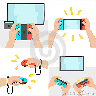 Free New Switching Gaming System. Portable Console. Royalty Free Stock Photo - 84158435
