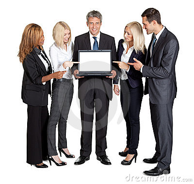 New technology in market - Team with laptop