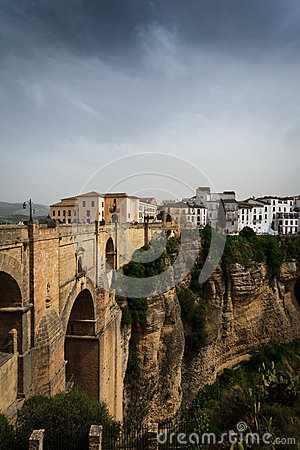 New town, 18th century bridge in Ronda, Spain