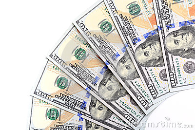 New U.S. hundred-dollar bills, folded like a fan, put into circu