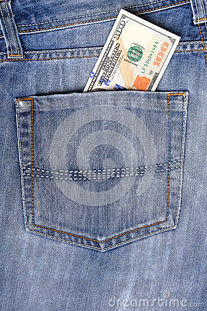 New U.S. hundred dollar bills  in the back pocket