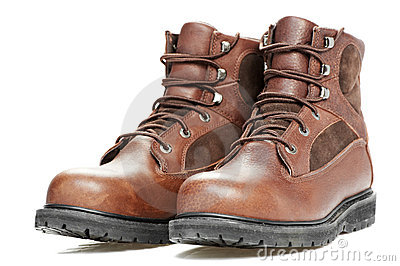 New work wear boots on white background