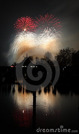 New Year 2008 fireworks Zurich Editorial Stock Image