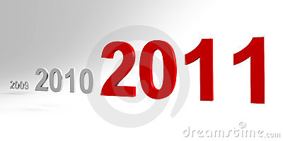 The new year 2011 is coming - a 3d image