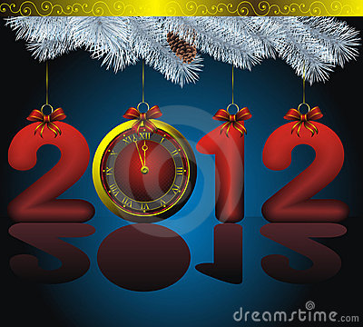 New year 2012 card with golden watch