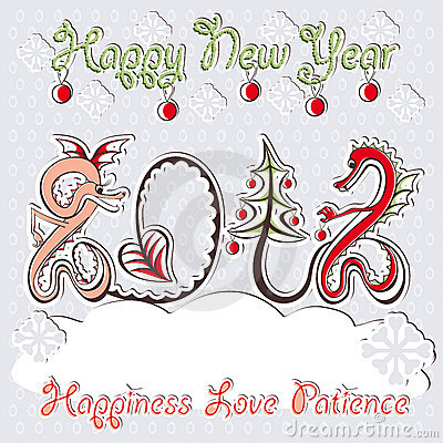 New Year 2012 dragons greeting vector card