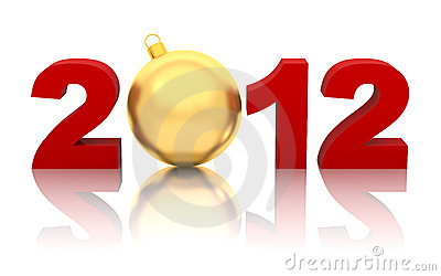 New year 2012 with golden christmas ball