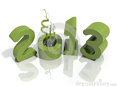 New year 2013 in green numbers with bamboo