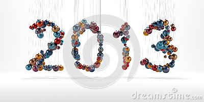 New year 2013 made of christmass balls isolated