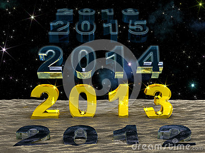 New Year 2013 over the sand of time