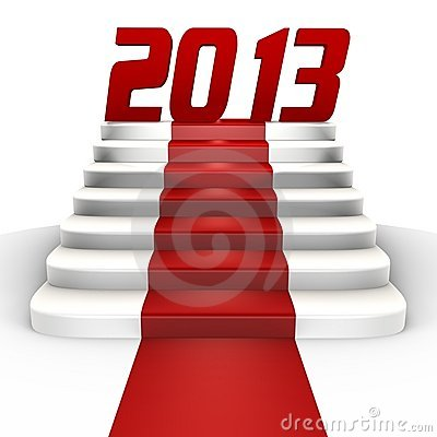 New year 2013 on a red carpet - a 3d image