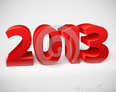 New year 2013 shiny 3d red