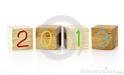 New Year 2013 wood cubes