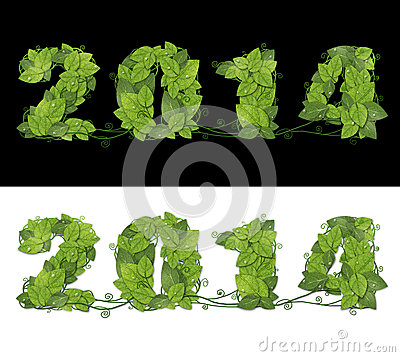 Free New Year 2014. Date Lined Green Leaves With Drops Of Dew. Royalty Free Stock Images - 32938429