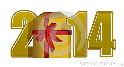 New year 2014 text and gift