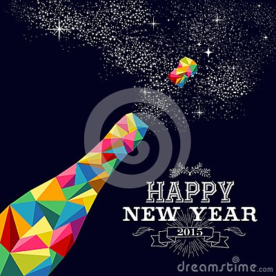 Free New Year 2015 Champagne Bottle Poster Design Stock Images - 46640424