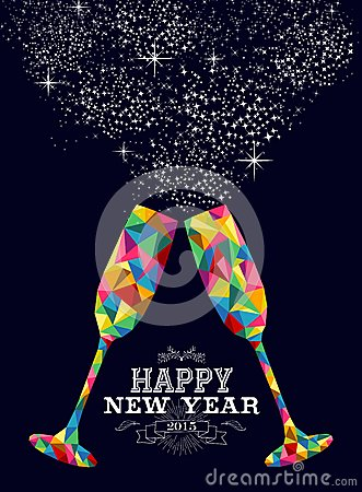 Free New Year 2015 Color Glass Greeting Card Royalty Free Stock Photography - 46639567