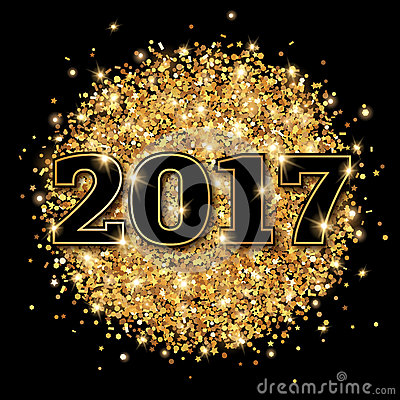 Free New Year 2017 Greeting Card Black Background. Stock Photo - 71825730