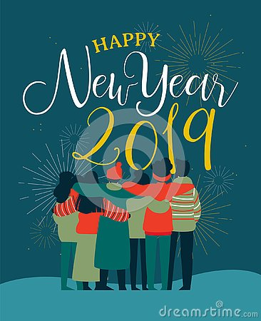 Free New Year 2019 Friend People Group Greeting Card Stock Photography - 130912102
