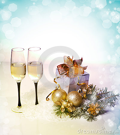 Free New Year And Christmas Celebration .Two Champagne Glasses In Hol Stock Photo - 28266360