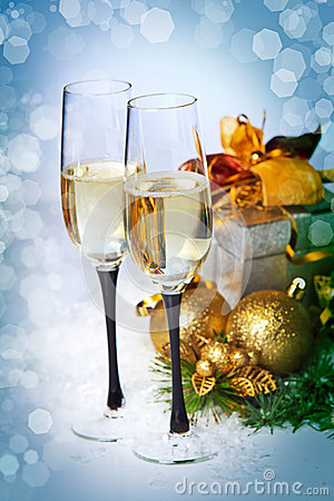 Free New Year And Christmas Celebration .Two Champagne Glasses In Hol Stock Images - 28266414