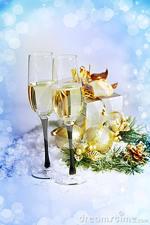 Free New Year And Christmas Celebration .Two Champagne Glasses In Hol Stock Image - 28266441