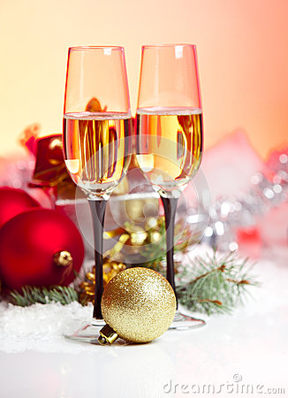 Free New Year And Christmas Celebration .Two Champagne Glasses In Hol Stock Photography - 28266532