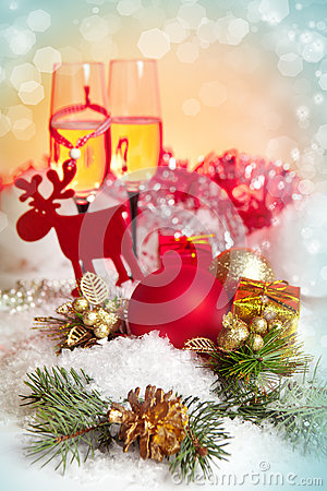 Free New Year And Christmas Celebration .Two Champagne Glasses In Hol Stock Photo - 28266570
