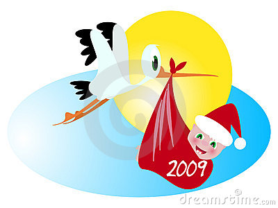 New year baby and stork
