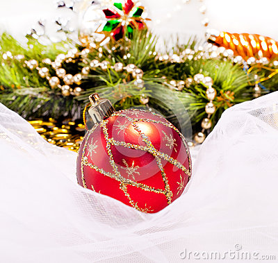 New year background with decoration ball
