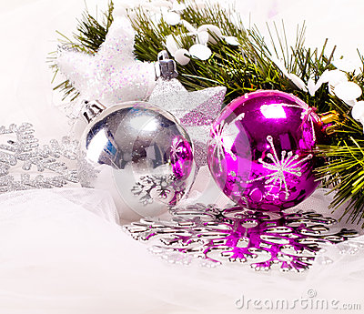 New year background with decoration balls
