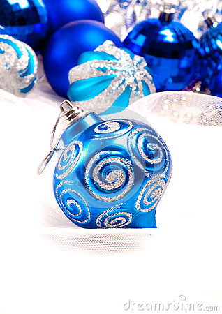 New year background with decoration blue ball