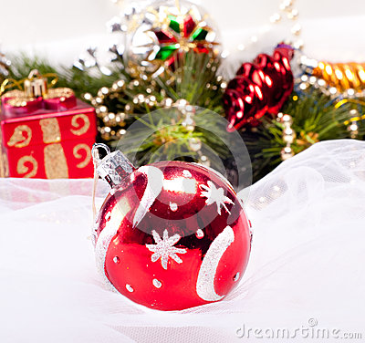 New year background with decoration red ball