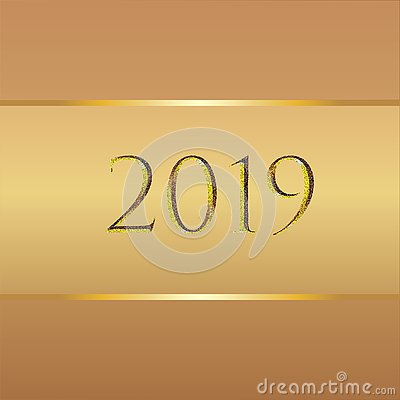 New year background in different shades of brown color and gold elements and 2019 numbers Cartoon Illustration