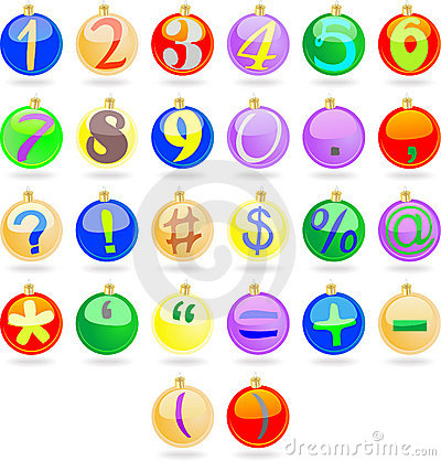 New year balls with numbers