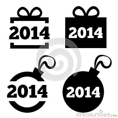 New Year 2014 black icons. Christmas gift, ball. Stock Photo