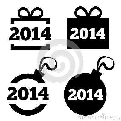 New Year 2014 black icons. Christmas gift, ball. Vector Illustration