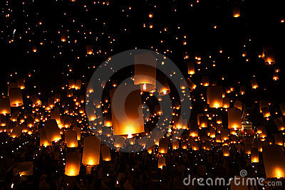 New Year candles lantern balloon traditional
