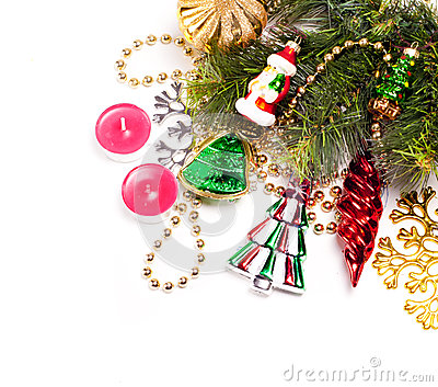 New year card with beautiful color decorations