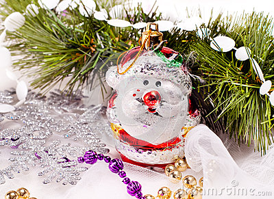 New year card with beautiful snowman